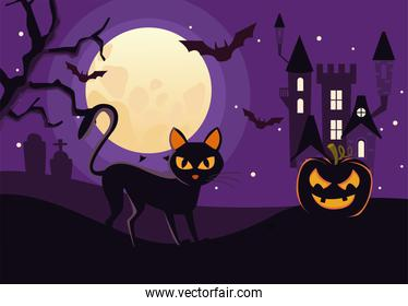 halloween dark haunted castle with cat and bats flying scene