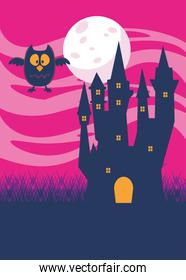 halloween dark haunted castle and owl in the night scene