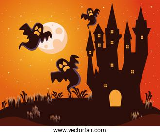 halloween dark haunted castle with ghosts at night scene