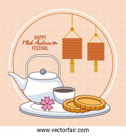 mid autumn celebration card with cookies and tea scene