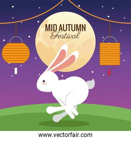 mid autumn celebration card with rabbit running and moon