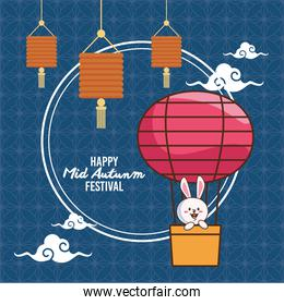mid autumn celebration poster with rabbit in balloon air hot and lanterns hanging