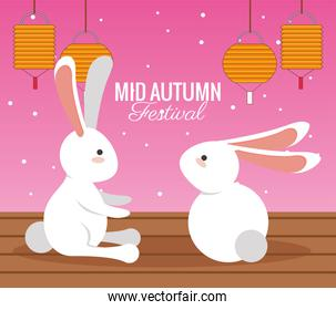 mid autumn celebration card with rabbits couple and lanterns hanging