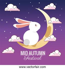 mid autumn celebration card with rabbit and crescent moon