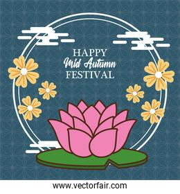 mid autumn celebration card with lotus flower in circular frame