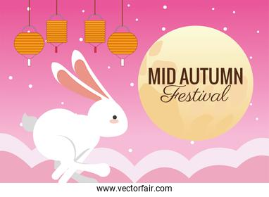 mid autumn celebration card with rabbit running and full moon