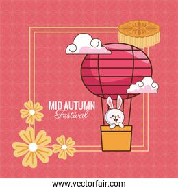 mid autumn celebration card with rabbit in balloon air hot and flowers frame