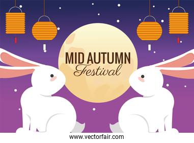mid autumn celebration card with rabbits couple and lanterns hanging at night