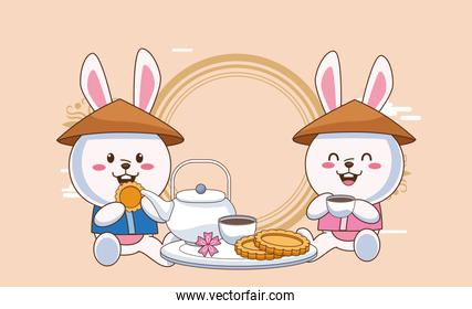 mid autumn celebration card with rabbits couple eating cookies and drink tea