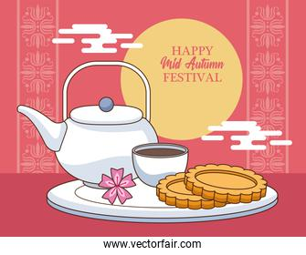 mid autumn celebration card with cookies and tea at night