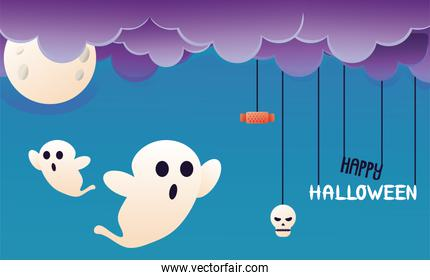 halloween ghosts with clouds and moon scene