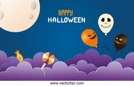 halloween balloons helium with candies and moon scene