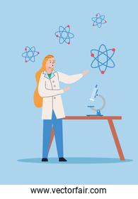 female scientific with microscope and atoms research vaccine
