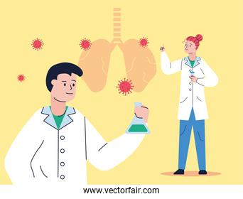 couple scientifics with tube test and lungs research vaccine of covid19