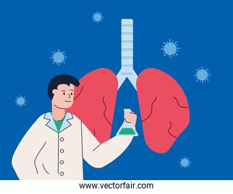 male scientific with tube test and lungs research vaccine
