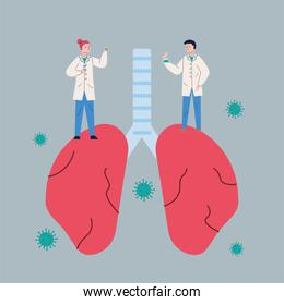 couple scientifics with lungs and covid19 particles research vaccine