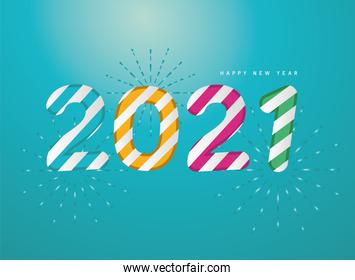 2021 Happy new year with fireworks and striped vector design