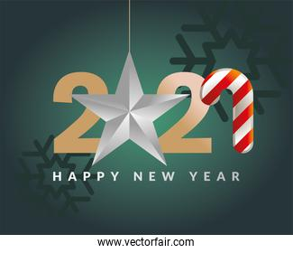 2021 Happy new year with star hanging and candy vector design