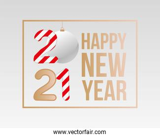 2021 Happy new year with sphere and striped vector design