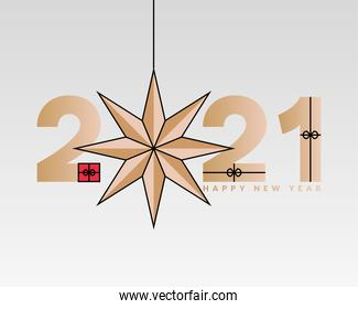 2021 Happy new year with star hanging vector design