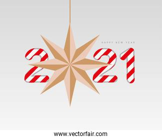 2021 Happy new year with star and striped vector design