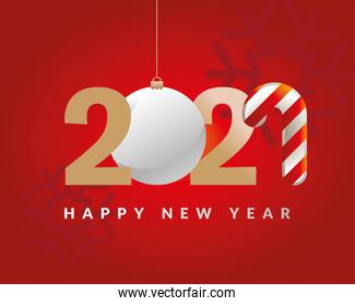2021 Happy new year with sphere and candy vector design