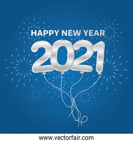 2021 Happy new year balloons with fireworks silver vector design