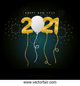 2021 Happy new year balloons with fireworks vector design