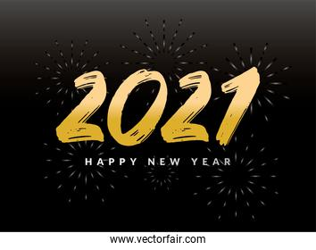2021 Happy new year with fireworks vector design