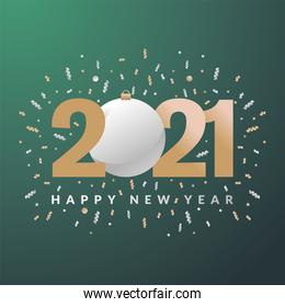 2021 Happy new year with sphere vector design