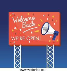 welcome back re opening banner and megaphone