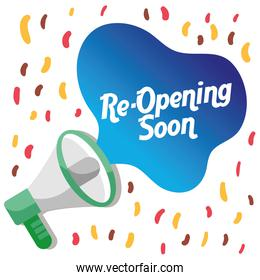 re opening lettering with megaphone and confetti