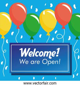 welcome back re opening banner with balloons helium