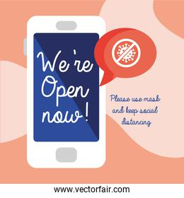 we are open now re opening lettering in smartphone with stop covid19 signal