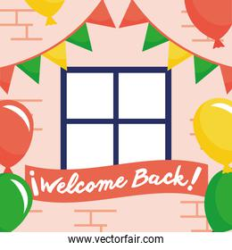 welcome back re opening lettering in placard with balloons helium and garlands