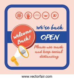 welcome back re opening poster with megaphone