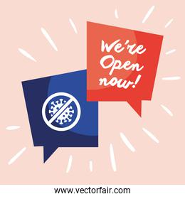 we are open now re opening lettering and stop covid19 signals in speech bubbles
