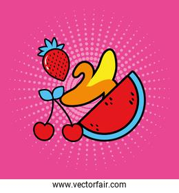 group of fruits pop art style icon