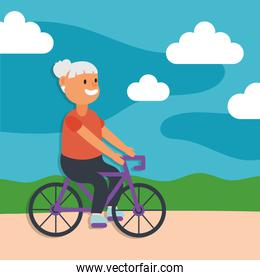 old woman riding bicycle active senior character