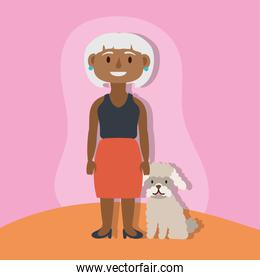 old afro woman with dog active senior character