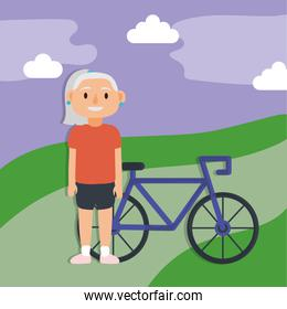 old woman with bicycle active senior character