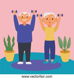 old couple lifting dumbbells active seniors characters