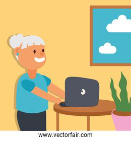 old woman using laptop active senior character