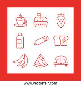 bundle of nine food   icons in red background