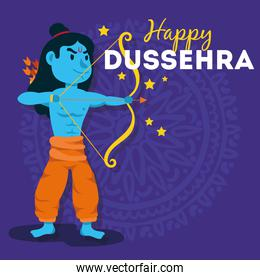 happy dussehra celebration with lord rama blue character in purple background