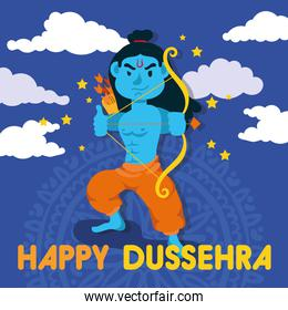 happy dussehra celebration with lord rama blue character in sky