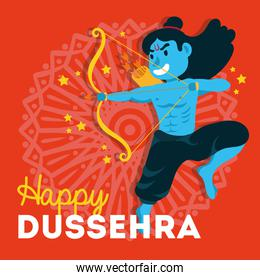 dussehra celebration with lord rama blue character