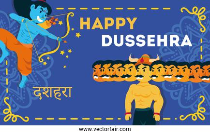 happy dussehra celebration lettering with lord rama and ravana demon