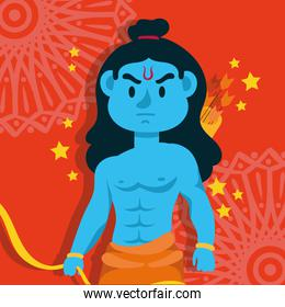 happy dussehra celebration with lord rama blue character in red background