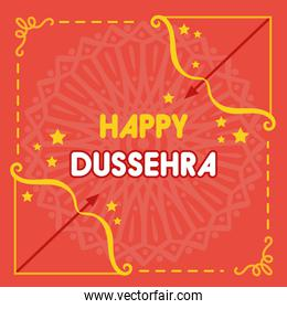 happy dussehra celebration with arch arrows and stars